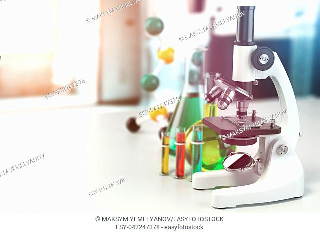 Microscope with lab glassware, flasks and colbas. Science laboratory research and chemistry white background. 3d illustration