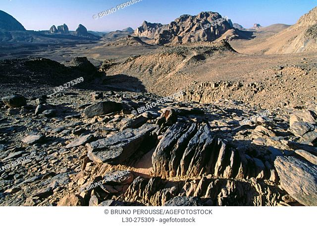 Landscape in Hoggar Mountains. Algeria