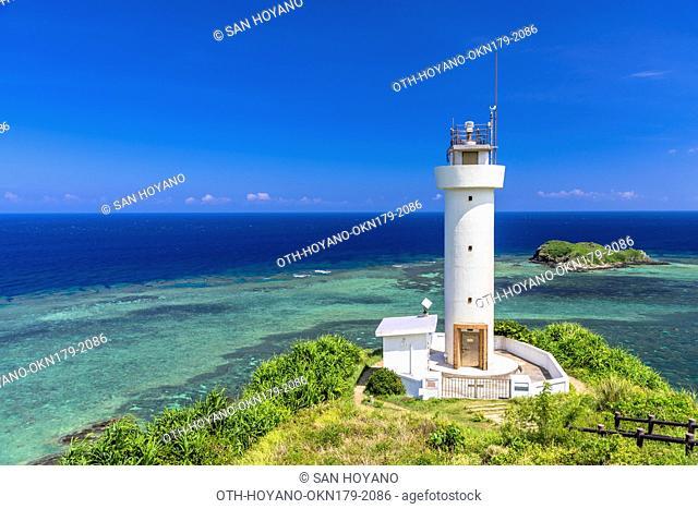 Hirakubozaki light house on northern most of Hirakubo Peninsula in Ishigaki island, the second largest island of the Yaeyama Island group, Okinawa prefecture