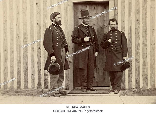 General John A. Rawlins, left, General Ulysses S. Grant, center, and Unidentified Officer, Portrait, 1861