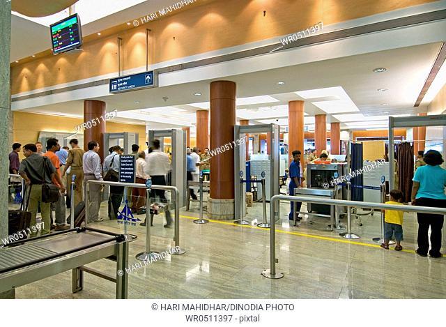 Security check in entrance of chhatrapati shivaji international airport , Santacruz , Bombay Mumbai , Maharashtra , India
