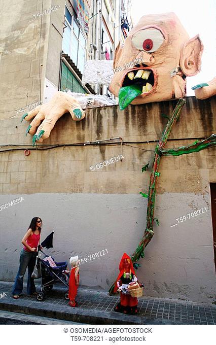 Local festivity, Gracia district, Barcelona. Catalonia, Spain