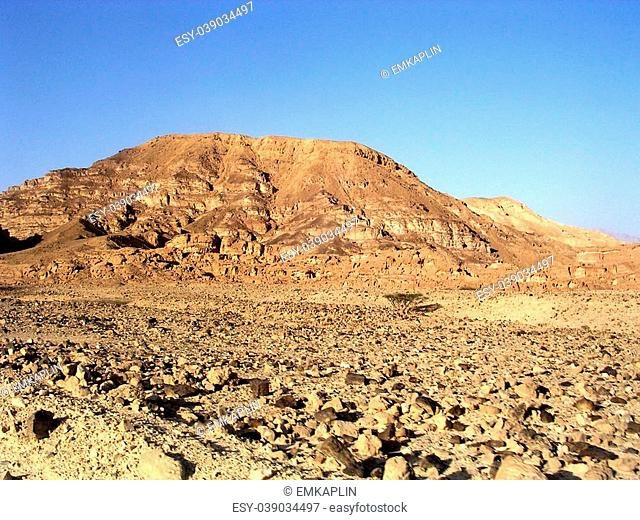 The Arava desert and mountains near Eilat in Israel