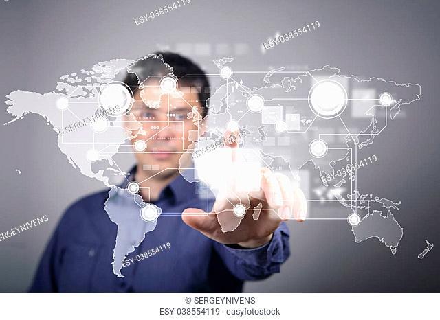 Businessman in suit pressing social media icon
