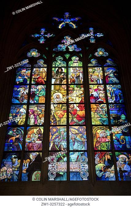 Art Nouveau stained glass window by Alponse Mucha, St Vitus Cathedral, Prague Castle, Prague, Czech Republic