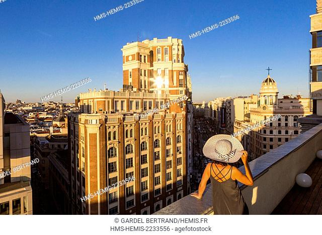 Spain, Madrid, La Latina district overlooking the Gran Via with in the left the Palace of the Press built in 1920