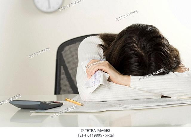 Woman working on paperwork