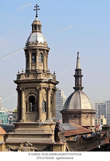 Chile, Santiago, Elevated view of the Metropolitan Cathedral