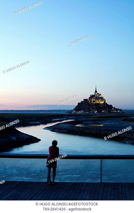 Night landscape. Mont-Saint Michel abbey. Normandy. France