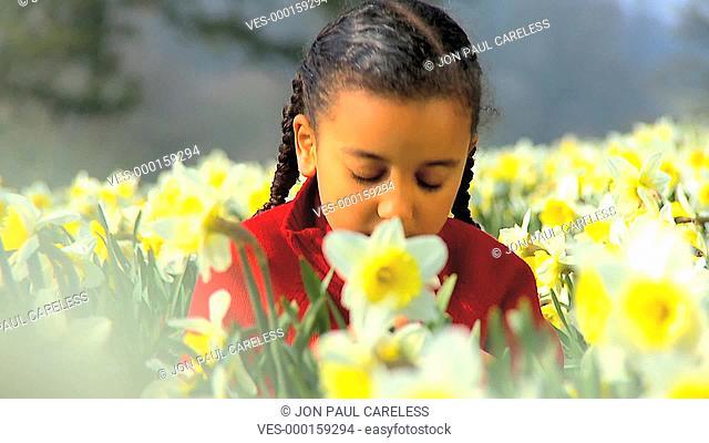 Ein Kind spielt in einer bülhenden Wiese voller Osterglocken
