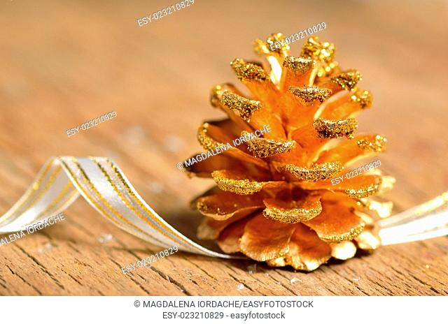 pine cones Christmas decoration on wooden table