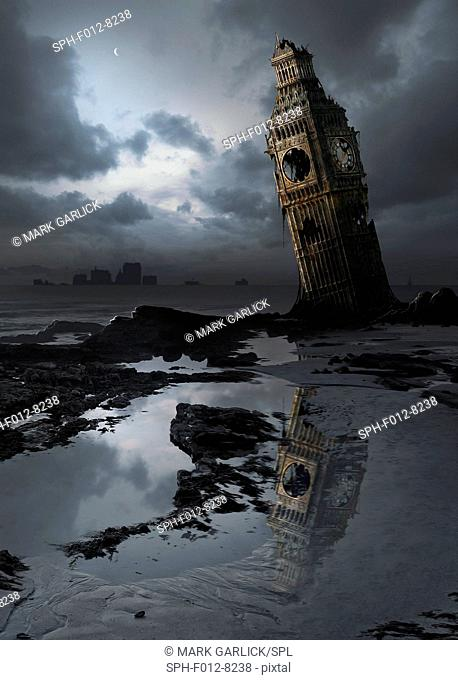 Global warming. Computer artwork of Big Ben, London, England, flooded and in ruins, in a possible future. This is showing a rise in sea levels due to global...