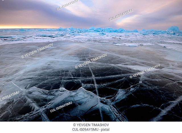 Patterned ice, Baikal Lake, Olkhon Island, Siberia, Russia