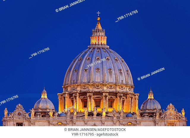 Designed by Michelangelo, the beautiful dome of St  Peter's Basilica just before dawn, Rome Lazio Italy