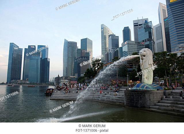 View of Merlion Park and Singapore skyline