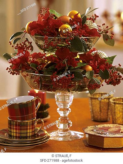 Tiered glass stand with Poinsettia and Cotoneaster