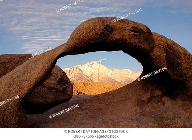 The arch appears east of the Sierra Nevada Range in California, USA