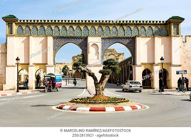 Mosaic covered Islamic arches in the city gate. Meknes, Morocco, North Africa