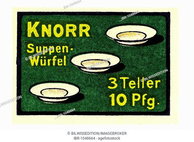 German trading stamp, Knorr Suppen-Wuerfel, 3 Teller 10Pfg