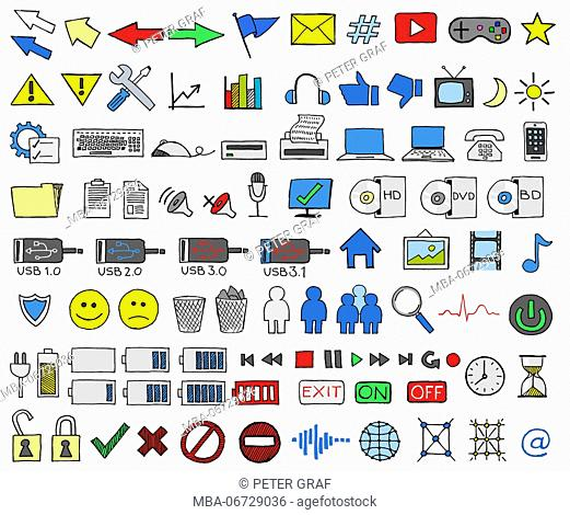 Collection of hand-drawn colourful icons from the computer world