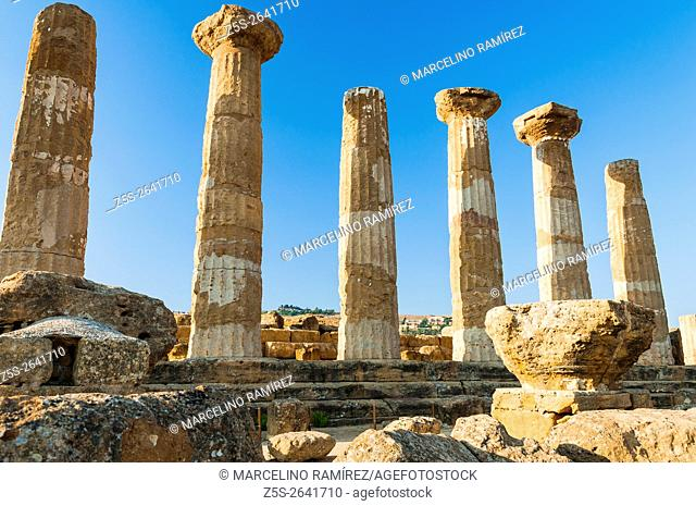 Valley of the Temples. Remains of the Temple of Heracles. Agrigento. Sicily. Italy