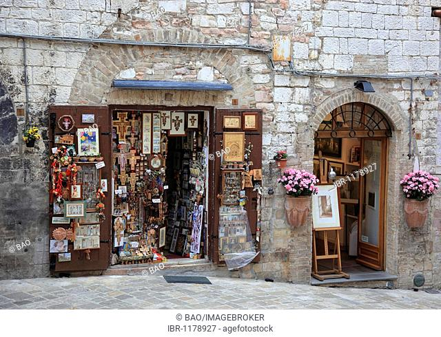 Shop for devotional objects in the historic town of Assisi, Umbria, Italy, Europe