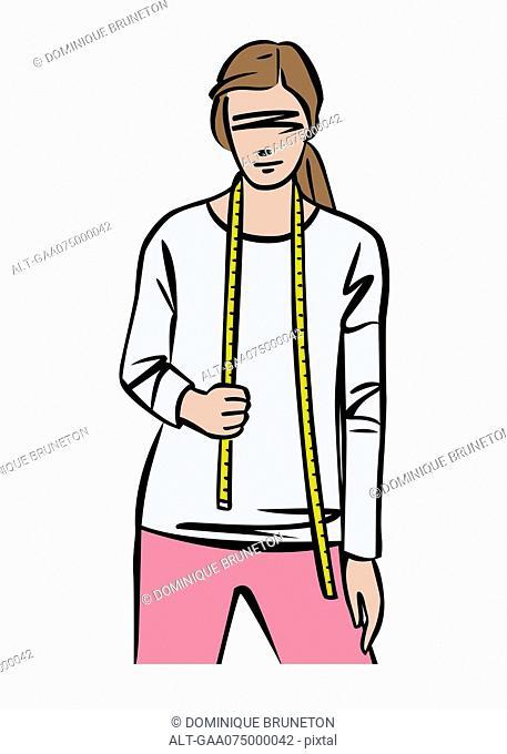 Illustration of female fashion designer