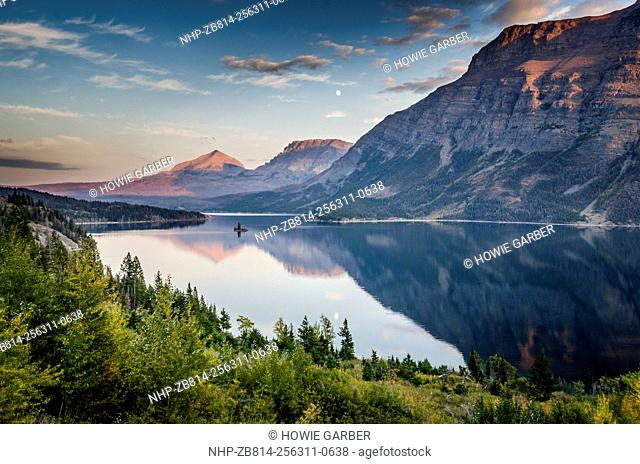 Saint Mary Lake at sunset, Wild Goose Island in distance, Glacier National Park, Montana