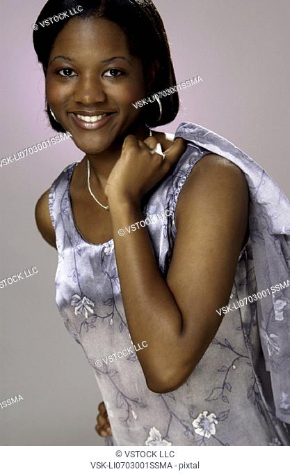 African American woman in nice dress