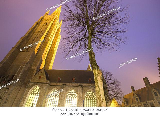 Brugge, Belgium. Cityscape by night in the medieval city