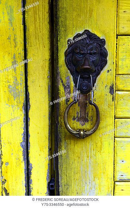 A yellow door in Yaeyama islands, Ishigaki-jima, Japan, Asia