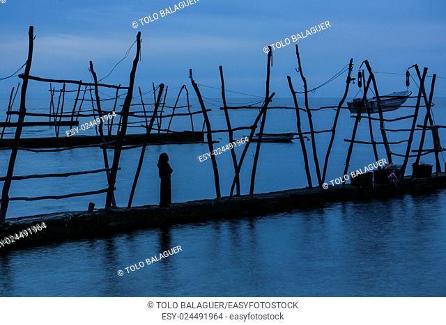Typical cranes for fishing boats on the waterfront, Savudrija, Istria Peninsula, Croatia