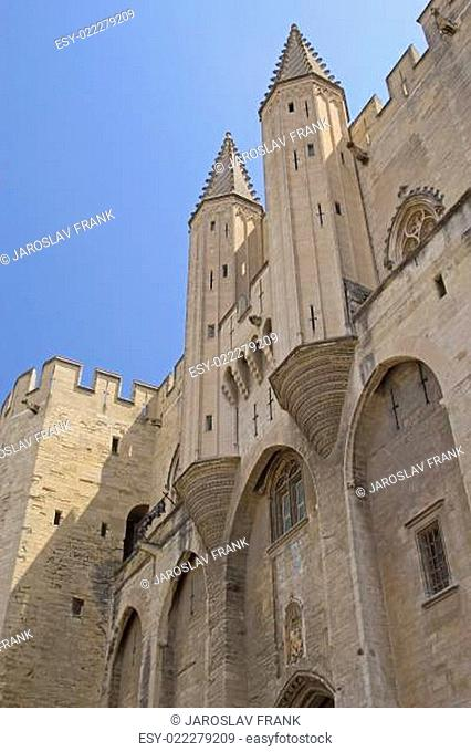 Ancient Avignon Cathedral and Palais des Papes