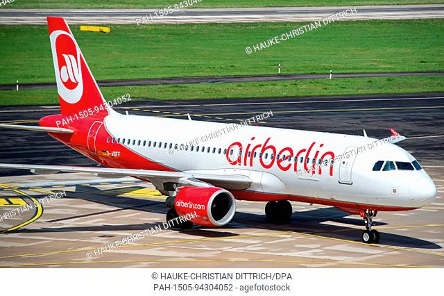 An aircraft type Airbus A320-214 of the airline Air Berlin in a park position at the airport of Dusseldorf (Germany), 03 August 2017