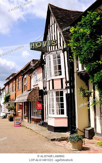 England, Suffolk, Lavenham. Hovis sign on a half-timbered shop on the Market Square in the historic town of Lavenham