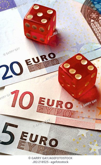 Dice on euro money
