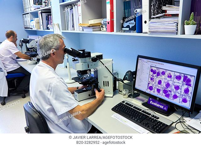 Analysis of samples in a microscope, Clinical analysis, Hematology, Hospital Donostia, San Sebastian, Gipuzkoa, Basque Country, Spain