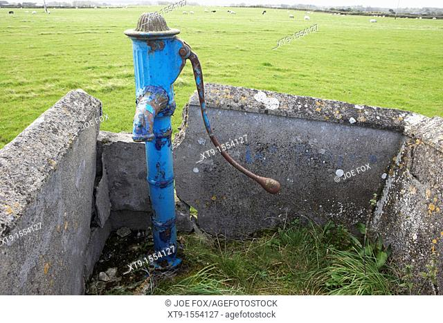 old painted manual water pump field supply easkey county sligo republic of ireland