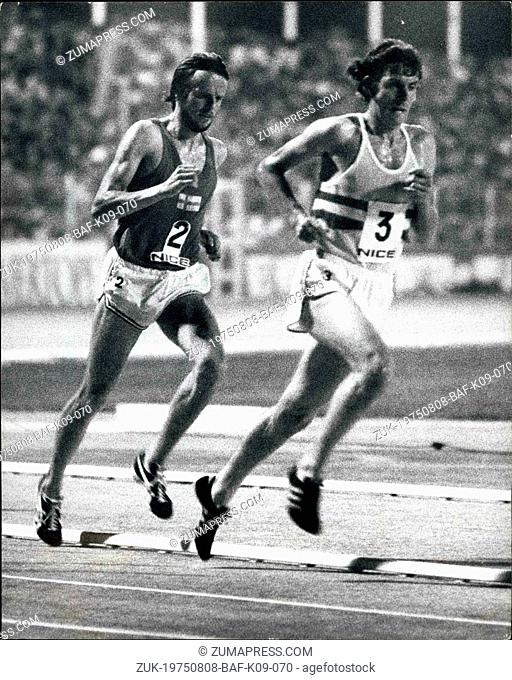 Aug. 08, 1975 - Athletics -- for European cup final in Nice.: Photo shows Britain's Brendan Foster leads Finland's Lasse Viren in the 5,000-metres