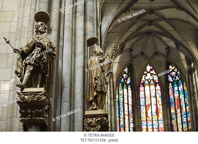 Statues and church interior