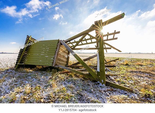 Destroyed Hunting Blind in Winter, Hesse, Germany, Europe