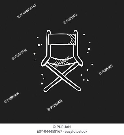 Movie director chair icon in doodle sketch lines. Industry entertainment Hollywood cinema