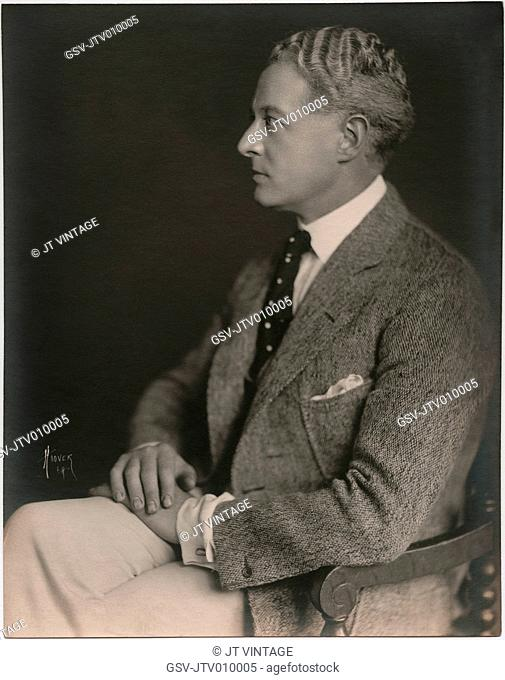 Actor Edward Martindel, Seated Profile Publicity Portrait, 1920's