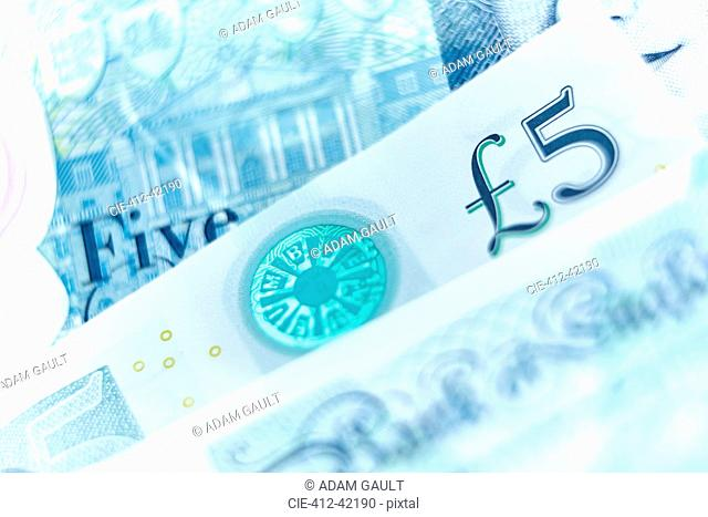 Close up five pound note