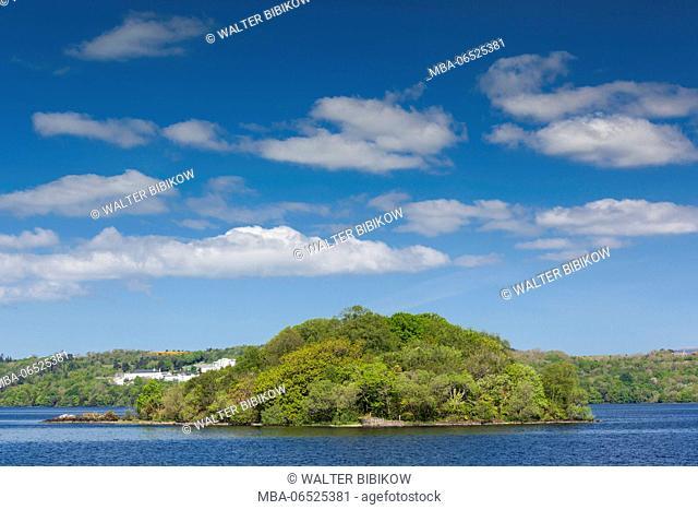 Ireland, County Sligo, Sligo, Lough Gill and Lake Isle of Innisfree celebrated by poet WB Yeats