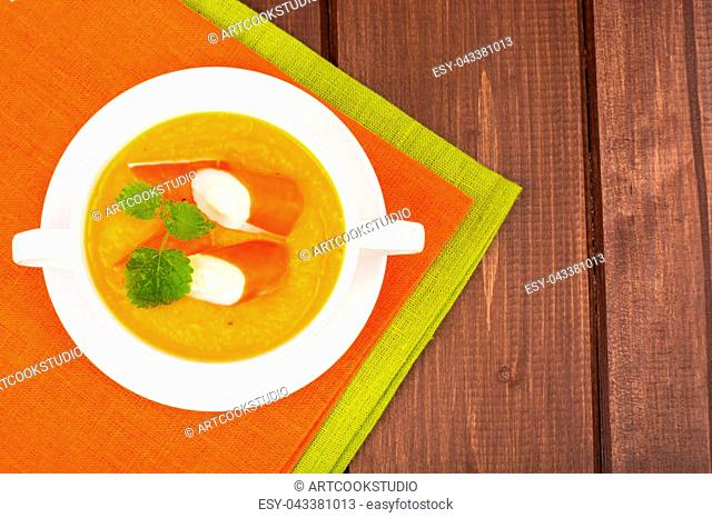 Vegetable soup with surimi. Studio Photo