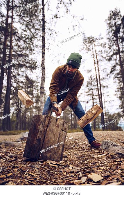 Young man chopping woog in the forest