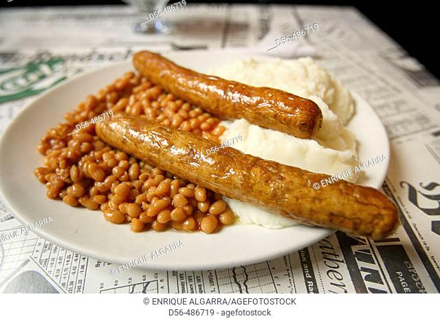 Baked beans and sausages, English pub. London, England, UK