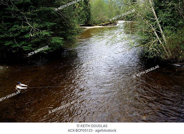 Flyfishing for steelhead, Glendale river, Knight Inlet, British Columbia, Canada