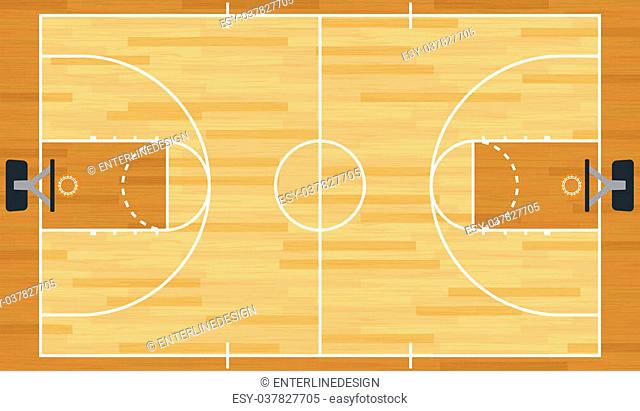 A realistic vector hardwood textured basketball court. EPS 10. File contains transparencies